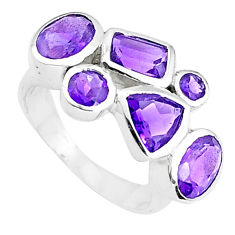6.04cts natural purple amethyst 925 sterling silver ring jewelry size 6.5 p37147