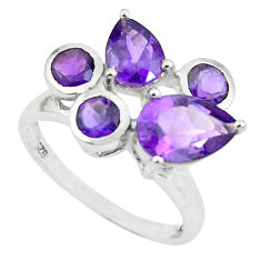 5.21cts natural purple amethyst 925 sterling silver ring jewelry size 5.5 p62161