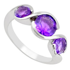 4.06cts natural purple amethyst 925 sterling silver ring jewelry size 6.5 p62362