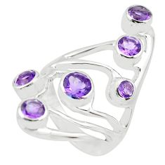 4.72cts natural purple amethyst 925 sterling silver ring jewelry size 9.5 p62661