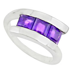 3.39cts natural purple amethyst 925 sterling silver ring jewelry size 6.5 p73078