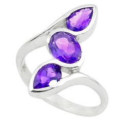 3.51cts natural purple amethyst 925 sterling silver ring jewelry size 5.5 p73253