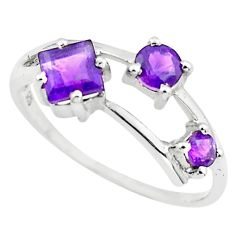 1.34cts natural purple amethyst 925 sterling silver ring jewelry size 6.5 p73403