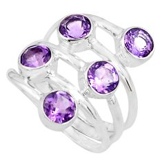 4.27cts natural purple amethyst 925 sterling silver ring jewelry size 6 p77745
