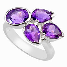 6.83cts natural purple amethyst 925 sterling silver ring jewelry size 6.5 p81641