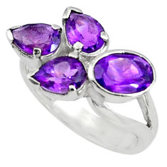 6.58cts natural purple amethyst 925 sterling silver ring jewelry size 9 p81780