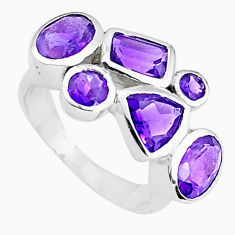 6.28cts natural purple amethyst 925 sterling silver ring jewelry size 5.5 p82802