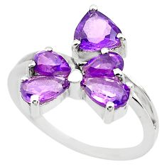 4.24cts natural purple amethyst 925 sterling silver ring jewelry size 7.5 p82882