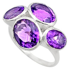 13.09cts natural purple amethyst 925 sterling silver ring jewelry size 8 p83114