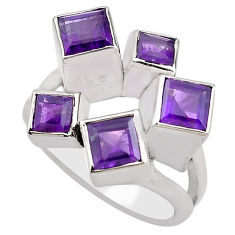 3.74cts natural purple amethyst 925 sterling silver ring jewelry size 9 p83148