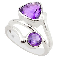 6.09cts natural purple amethyst 925 sterling silver ring jewelry size 7.5 p83181