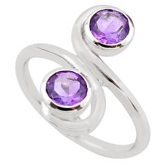 1.74cts natural purple amethyst 925 sterling silver ring jewelry size 6.5 p83201