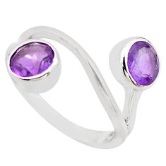 3.13cts natural purple amethyst 925 sterling silver ring jewelry size 5.5 p83223
