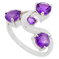 3.29cts natural purple amethyst 925 sterling silver ring jewelry size 5.5 p83321