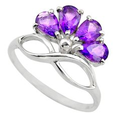 4.34cts natural purple amethyst 925 sterling silver ring jewelry size 6.5 p83501