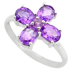 3.86cts natural purple amethyst 925 sterling silver ring jewelry size 6.5 p83522