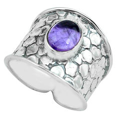 3.41cts natural purple amethyst 925 sterling silver solitaire ring size 8 p68462