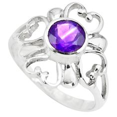 1.44cts natural purple amethyst 925 sterling silver tennis ring size 6 p73425