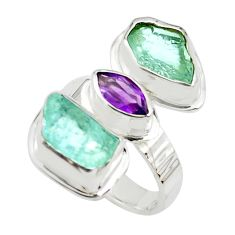 11.19cts natural purple amethyst aquamarine rough 925 silver ring size 6 p70919