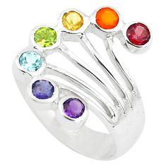 2.58cts natural purple amethyst cornelian 925 silver chakra ring size 6.5 p73291