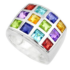 6.98cts natural purple amethyst garnet peridot 925 silver ring size 5.5 p37402