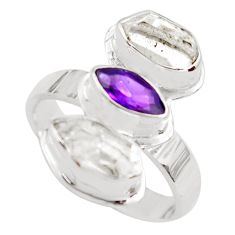 8.80cts natural purple amethyst herkimer diamond 925 silver ring size 8 p71300