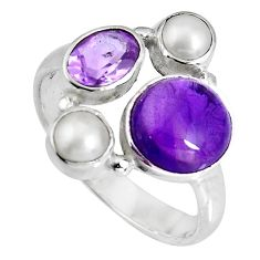 6.10cts natural purple amethyst pearl 925 sterling silver ring size 6 p90696