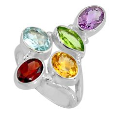 7.66cts natural purple amethyst peridot 925 sterling silver ring size 7 d32608