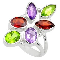 10.70cts natural purple amethyst peridot 925 sterling silver ring size 8 p77737