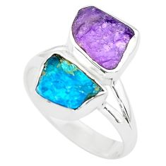8.44cts natural purple amethyst rough apatite rough silver ring size 8.5 p73884