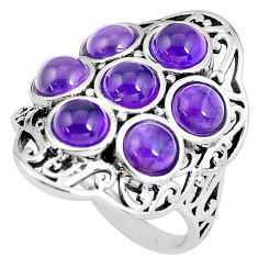 6.54cts natural purple amethyst round 925 silver ring jewelry size 7 p56084