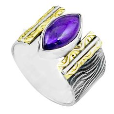 6.20cts natural purple amethyst silver 14k gold solitaire ring size 7.5 p87922