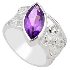 6.31cts natural purple amethyst topaz 925 silver solitaire ring size 7.5 p83241