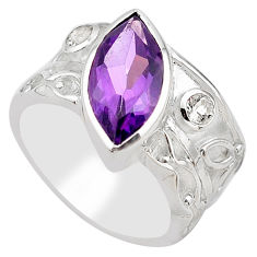 6.31cts natural purple amethyst topaz 925 silver solitaire ring size 8.5 p83243
