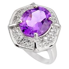7.50cts natural purple amethyst topaz 925 sterling silver ring size 7 c5616