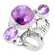 7.37cts natural purple cacoxenite super seven 925 silver fish ring size 7 p42584