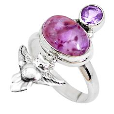 6.02cts natural purple cacoxenite super seven 925 silver owl ring size 8 p42593