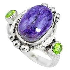 7.99cts natural purple charoite (siberian) 925 silver ring size 8.5 p69899