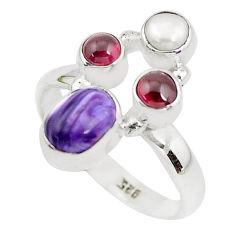 5.13cts natural purple charoite (siberian) garnet 925 silver ring size 8 p52514