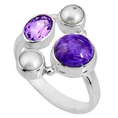 6.54cts natural purple charoite (siberian) pearl 925 silver ring size 9 p90714