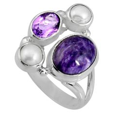 8.42cts natural purple charoite (siberian) pearl 925 silver ring size 7 p90717