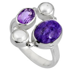 8.42cts natural purple charoite (siberian) pearl 925 silver ring size 8 p90718