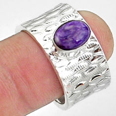 2.10cts natural purple charoite (siberian) silver adjustable ring size 8 p57236