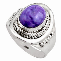 4.22cts natural purple charoite (siberian) silver solitaire ring size 7 p88895