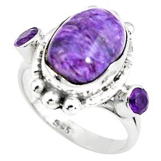 8.42cts natural purple charoite 925 silver ring jewelry size 8.5 p79002