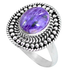 4.35cts natural purple charoite 925 silver solitaire ring size 8 p63031