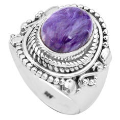 4.19cts natural purple charoite 925 silver solitaire ring size 6.5 p81222