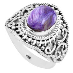 3.91cts natural purple charoite 925 silver solitaire ring size 7.5 p81225