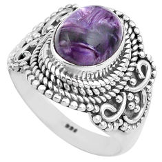 4.71cts natural purple charoite 925 silver solitaire ring size 6 p81226