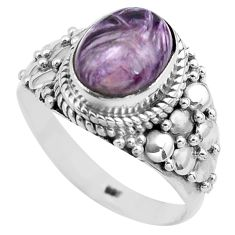 4.02cts natural purple charoite 925 silver solitaire ring size 9 p81231